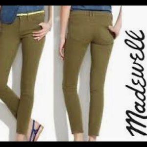Madewell Sz 24 Army Green Skinny Jeans